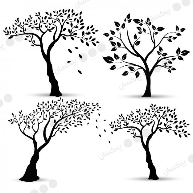 outline drawing of trees