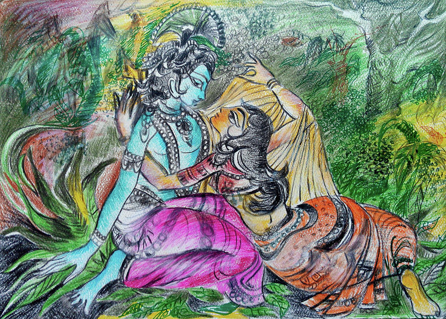 romantic images of lord krishna and radha